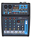 Audio2000'S AMX7321-Professional Four-Channel Audio Mixer with USB Interface, Bluetooth, and DSP...