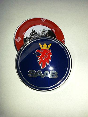 Kunstharzemblem für Saab, 1x 68mm, dunkelblau, Front-Aufkleber (3 Stifte)