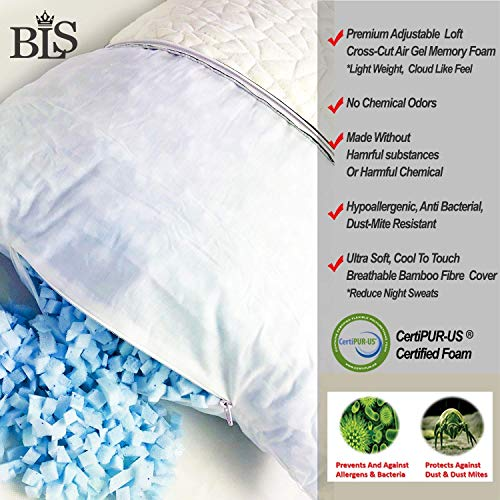 """Queen Premium ADJUSTABLE Gel Memory Foam Pillow - Bamboo Pillow - Bed Pillows For Sleeping - CertiPUR-US® Certified Memory Foam - Shredded Gel Memory Foam Pillow - Comes With Removable Ultra Soft Bamboo Pillow Case - Hypoallergenic - Reduce Neck And Back Pain - Soft And Conforming - ONE QUEEN SIZE PILLOW (Queen 19""""x29"""")"""