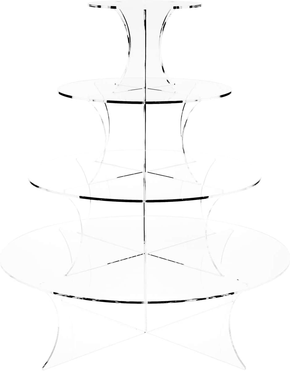Plymor Clear Acrylic Graduated 4-Tiered Round Display Riser, 27.