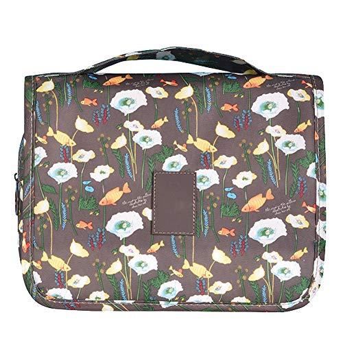 BIGBOBA 1pcs Trousse De Toilette Sac De Toilette Crochet De Lavage Sac à Cosmétiques Portable Size 23.5 * 9.5 * 20cm (Café)