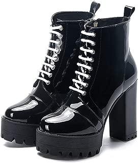 [ドドシューズ] ショートブーツ 編み上げ レディース 編み上げブーツ ブーツ エンジニアブーツ レディースブーツ ダンス レースアップ 黒 ショート パンク 厚底 ハイヒール 軽量 靴 大きいサイズ レースアップブーツ