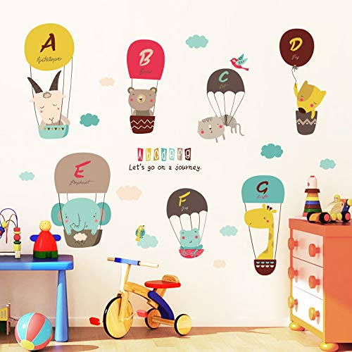 Cartoon Baby Slaapkamer Kinderen Kamer Decoraties Muurstickers Leuke Dieren Letters Hot Air Ballon Wallpaper Stickers