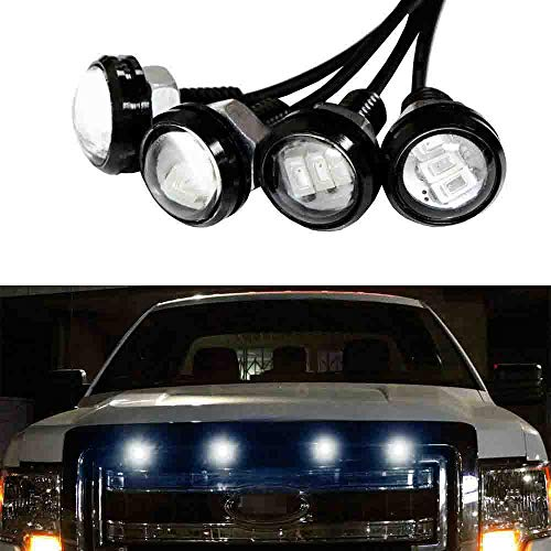 iJDMTOY Ford Raptor Style White LED Grille Lighting Kit Compatible With Chevy Dodge Ford GMC, 4-Piece 6000K Grill or Side Marker Light Set