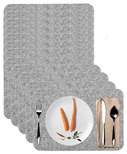 Möbelbörse 12x Filz Platzset grau Platzmatte Tischset Unterlage Untersetzer Waschbar Rechteckig 44x32cm