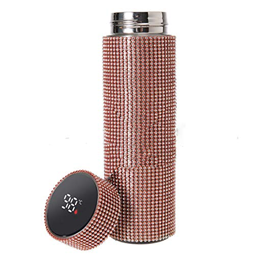 Sparkling Rhinestone Insulated Bottle,High-end Stainless Steel Diamond Thermal Bottle,Vacuum Flask Mug Coffee Cups,Thermos Cups for Hot Drinks Leakproof,Best Gift for Men Women (Rose red)