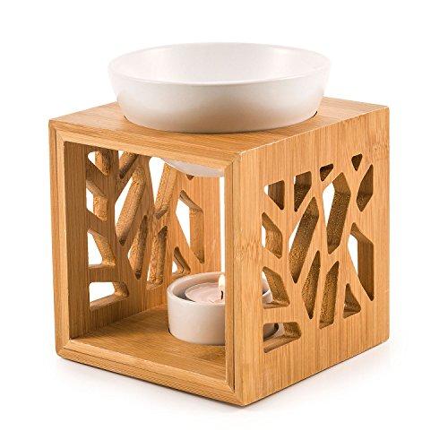 pajoma Bambus/Keramik Duftlampe ''Pattern'', L 12 x B 12,2 x H 12 cm