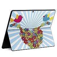 igsticker Surface Pro X 専用スキンシール サーフェス プロ エックス ノートブック ノートパソコン カバー ケース フィルム ステッカー アクセサリー 保護 007638 フラワー 花 フラワー 鳥 水色