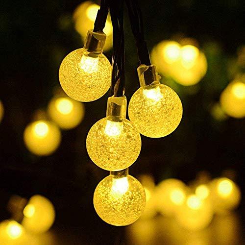 Luces solares al Aire Libre, Luces Cadena Cristal, Luces Cadena Bola Solar LED 20 pies 30 Patio, Fiestas, Patio