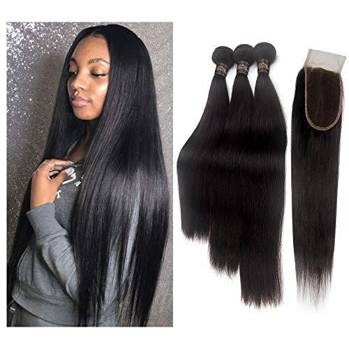 STfantasy Human Hair Closure 4'x4' Free Part Lace Closure 100% Brazilian Virgin with Hair Bundles Straight Unprocessed Hair Extensions