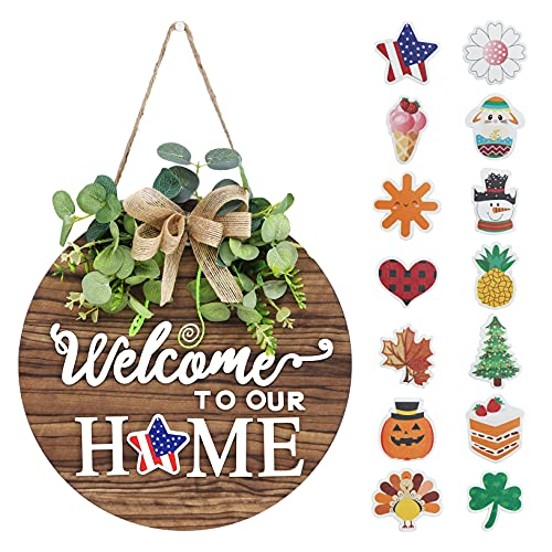 Interchangeable Seasonal Welcome Sign Front Door Decoration, Rustic Round Wood Wreaths Wall Hanging Outdoor, Farmhouse, Porch, Living Room, Perfect for 4th of July Decorations Party Decor Christmas.