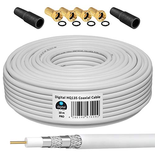 HB-Digital - Cable coaxial (10 m, 4 conectores F dorados y 2 fundas protectoras, cable coaxial de 10 m para recepción por satélite, apantallamiento, HDTV 3D FullHD Ultra HD)