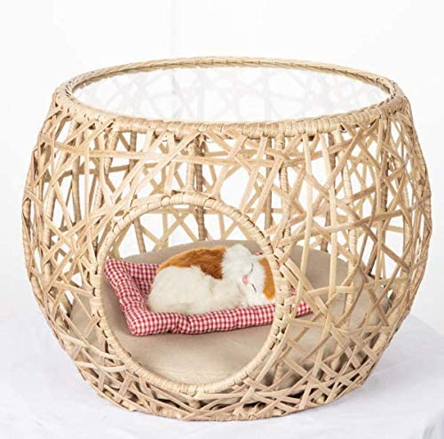 wholesale Unique Steel, Wicker Rattan and Glass Pet Hideaway Coffee, Sofa, outlet sale End Table by online SkyMall sale