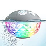 Uekars Bluetooth Shower Speaker, IPX7 Waterproof Floating Pool Speakers with LED Colorful Light,Portable Wireless Speaker for Hot Tub, Spa, Jacuzzi, Pond, Beach, Party, Camp (Gray)