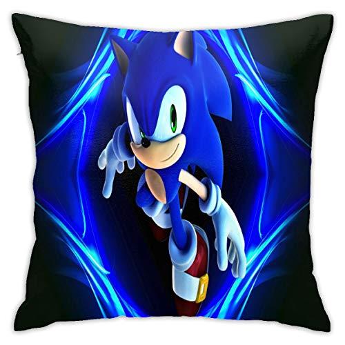 Jianglamghi Anime Sonic The Hedgehog Pillowcase, 18x18 Inch Home Living Room Sofa Car Seat Decoration Pillowcase, Soft Velvet Square Pillow, Room Decoration