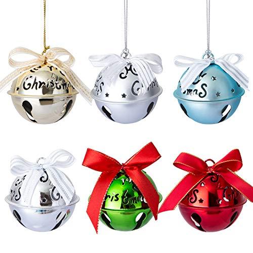 Naler 6 Stück Glöckchen Bunte Weihnachtsbaumschmuck 5 Farben Schellen Glocke für Weihnachten Weihnachtsbaum Deko - 63 mm