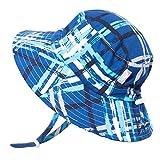 Jan & Jul Cute Infant Baby Boy Quick Dry Sun Hat 50 UPF, Adjustable, Stay-on Tie (S: 0-6m, Blue Plaid)