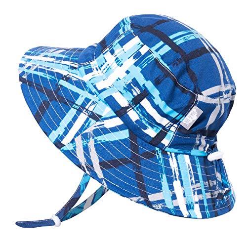 Jan & Jul Sonnen-Hut Klein-Kind UV Schutz 50 Größen-verstellbar Schwimmen Mütze für Mädchen Jungen (L: 2-5 Jahre, Blau Kariert)