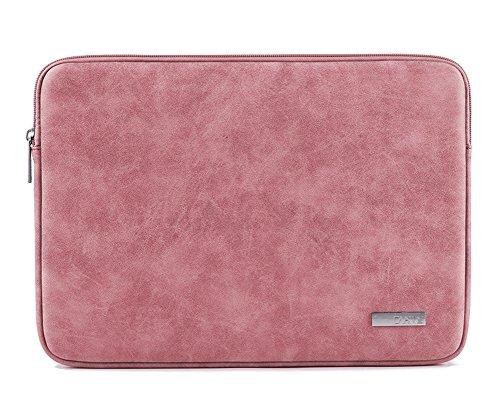 Fermeture à glissière unique Sac à main pour MacBook Ordinateur Portable Cuir PU Modèle Sac d'épaule Housse Étui Pink 13Inch