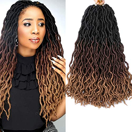 6 Pack Gypsy Locs Crochet Hair 18 Inch Crochet Locs Braids 3 Tone Ombre Curly Wavy Goddess Fauxs Locs Crochet Hair Extensions for Crochet Braids(6pcs, T1B/30/27)