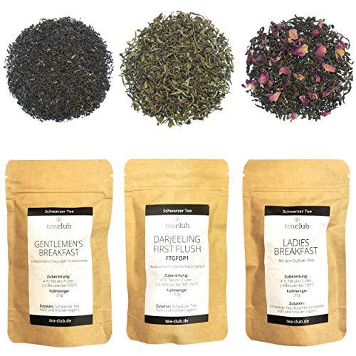 Schwarzer Tee Lose Probierset Geschenkset 3x 20g, Signature Collection Schwarztee Assam und Darjeeling Tee, TeaClub