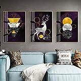 DCLZYF Estilo nórdico Abstracto Pintura de Lienzo de Navidad Carteles de Animales Alce geométrico Dorado Cuadro de Arte de Pared decoración del hogar-40x60cmx3 (sin Marco)