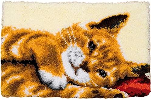 Gato Lindo Kit de Alfombra de Ganchillo, Kit de Hilo de Ganchillo, Kit de Gancho de Costura sin terminar, Alfombra de Ganchillo de Kits para Tejer con Aguja de lengüeta Kits