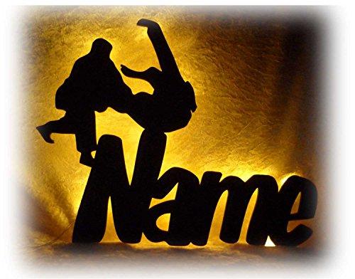 3D Led Lampe Wand Deko Karate mit Name, Geschenke für Judo Sport Sportler Mann Frau Junge Jungs Mädchen Geschenk Budo Dojo Trainer Meister