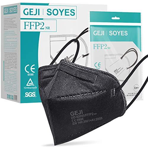 FFP2 Maske CE Zertifiziert schwarz - 20 Stück Masken - hygienische Einzelnverpackung - 5-lagige Premium Atemschutzmaske