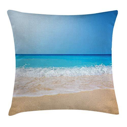 Modern Decor Kussen Kussensloop, Serene Tropical Beach Paradise op Aarde Reizen Ocean Heaven Trip Art, Decoratieve Vierkante Accent Kussensloop, 18 X 18 inch, Turkoois Crème