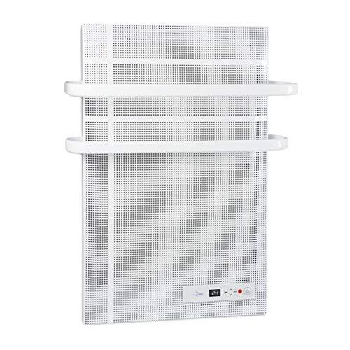 SUNTEC Bad Heizung Elektrisch mit 2-fach Handtuchhalter | Elektrische Infrarotheizung für Räume bis 15 m2 | Wandmontage | stufenlos regulierbares Thermostat | energiesparend | Heat Supreme