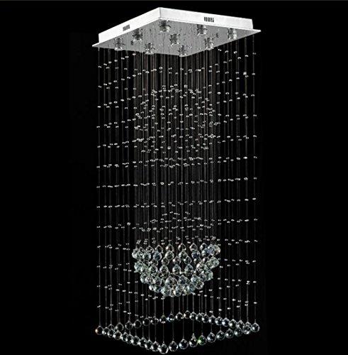Yjmgrowing plafondlampen van kristallen kristallen hanglamp Villa trap kristallen kroonluchter roestvrij staal hanglamp idee slaapkamer plafondlamp woonkamer, showroom, Villa 110V-220V