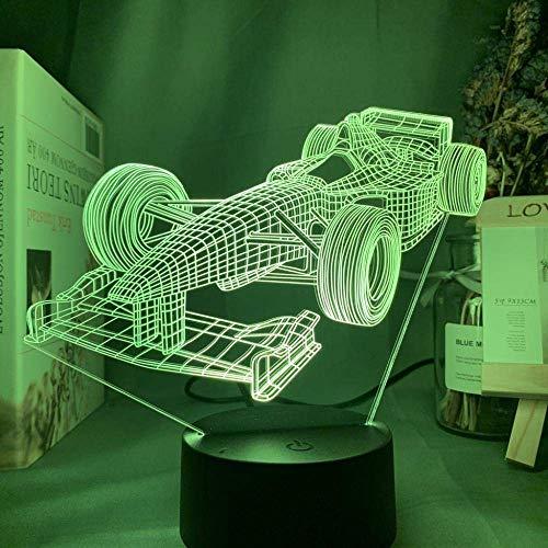 Lámpara de ilusión 3D Luz de noche LED F1 Fórmula 1 Coche de carreras para dormitorio infantil Lámpara de mesa decorativa Los mejores regalos de vacaciones de cumpleaños para niños