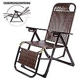 CHUDAN Relaxsessel Liegestuhl liegen Klapp Schaukelstühle Bambus Schaukelstuhl Verstellbarer Strandliege belastbar bis 200 kg für Balkon Terrasse Gartenstuhl Patio