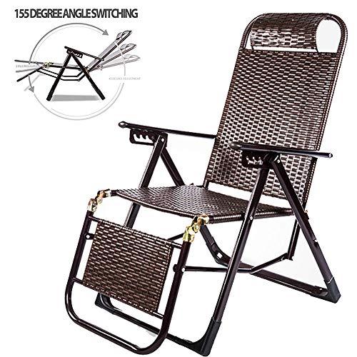 CHUDAN Recliner lounge stoelen liggen opklapbare schommelstoelen Bamboe schommelstoel Verstelbare strand ligstoel belastbaar tot 200 kg voor balkon terras tuinstoel patio