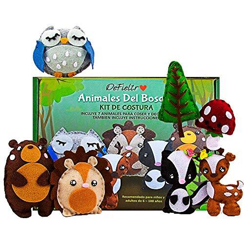 DeFieltro Animales del Bosque - Kit de Costura Infantil para Niñas y...