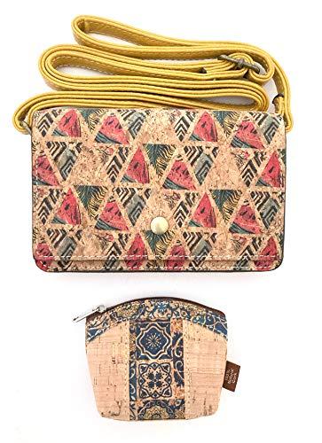 Bolsos de Mujer Bandolera pequeño. Moda más monedero de Corcho Natural Ecológico para Mujer. Liviano, Casual y Elegante