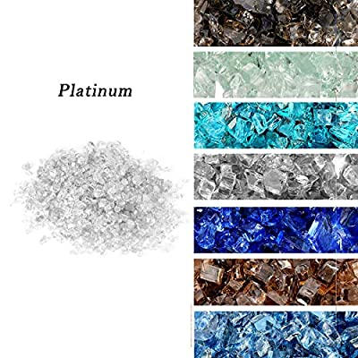 """Skyflame High Luster 10-Pound Regular Fire Glass for Fire Pit Fireplace Garden Landscaping Platinum 1/4"""" Size"""