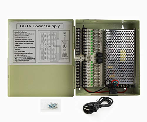 InstallerCCTV 18 Outputs 12 Amp 12V DC CCTV Distributed Power Supply Box for Security Camera, UL Listed