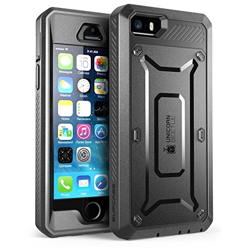 SUPCASE iPhone SE Case Cover, Full-Body Rugged Holster Case with Built-in Screen Protector for iPhone SE/5S/5, Unicorn Beetle PRO Series (Black)
