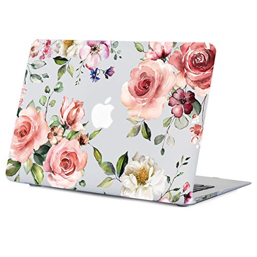 Lapac Flower MacBook Air 13.3 Inch Case, Pink Rose Flower Clear Case, Soft-Touch Hard Shell Case with Keyboard Cover Release 2010-2017 Model A1466 A1369