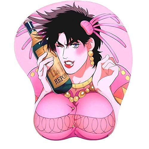 KONON Jo Jo Bizarre Adventure Anime Mouse Pads Pink Gaming Mousepad with Wrist Rest Support Soft Silicone Ergonomic Used in Office, Home (Color : A-JoJo)