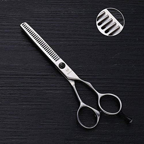 LONGWDS Tijeras del Pelo 28-Diente Adelgazamiento Shears, dentado-V de Acero Inoxidable de Corte de Pelo, de 5 Pulgadas Tijeras de peluquería (Color: Plata)