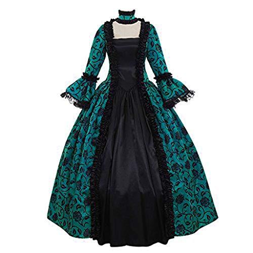 PPangUDing Mittelalterkleid Damen Vintage Gothic Steampunk Viktorianischen Renaissance Spitze Patchwork Prinzessinkleid Abendkleider Partykleid Halloween Karneval Fasching Cosplay Kostüm