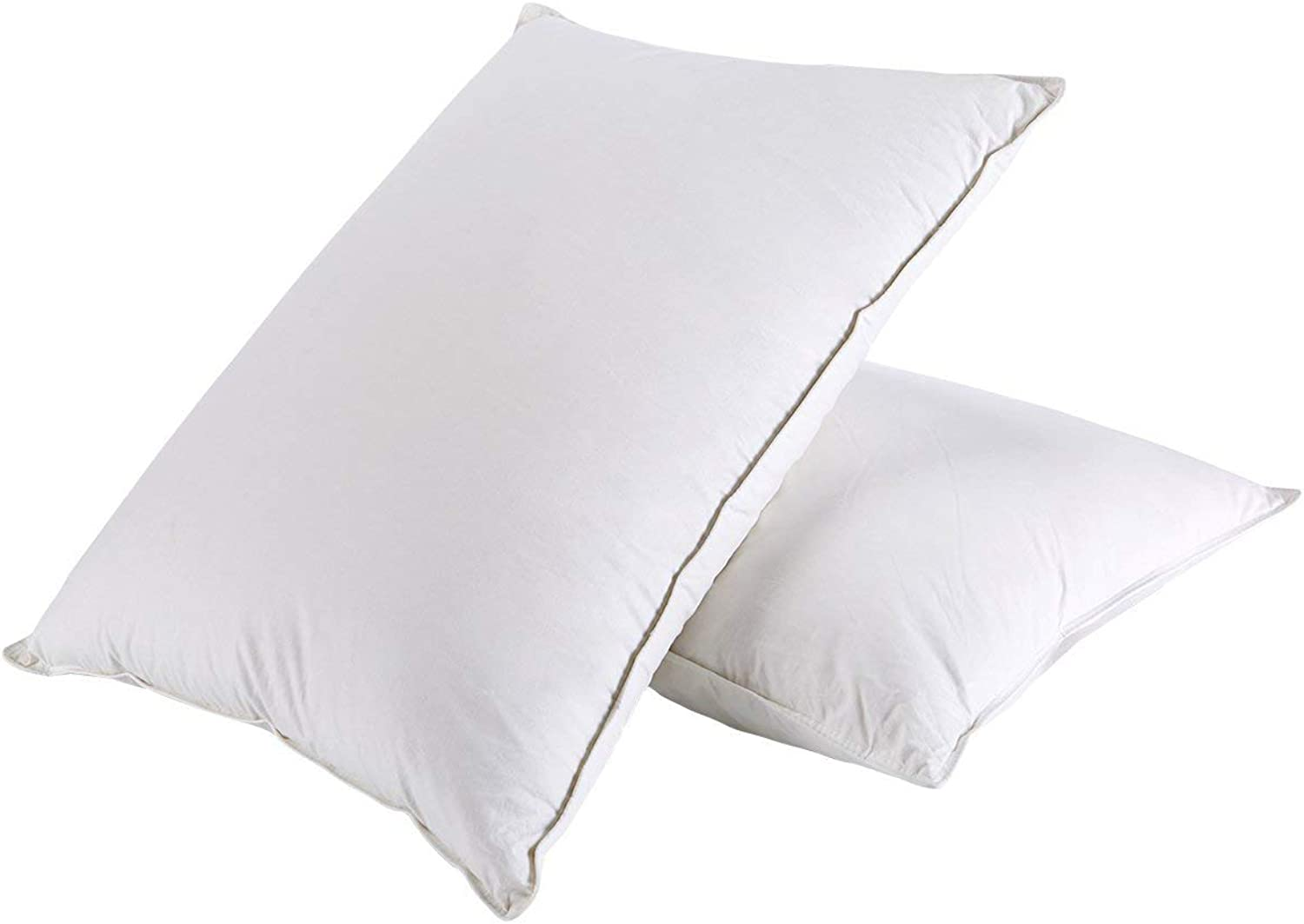 PEACE NEST-Soft White Down and Down Fiber Pillows, Cloud-Like Down Pillows for Sleeping,Side Sleeper,100% Cotton Fabric, King Size, White (2 Pack)