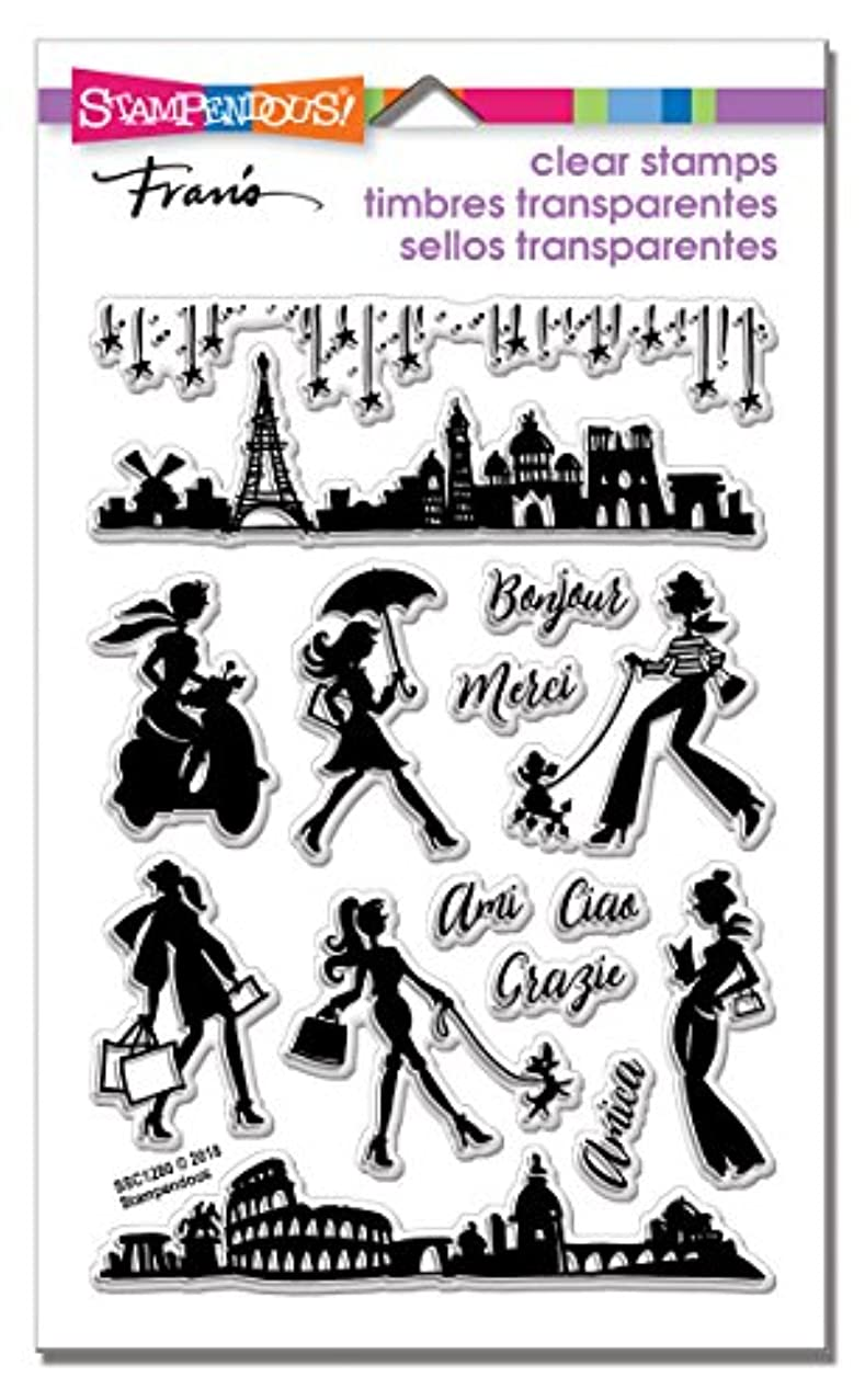 STAMPENDOUS Sassy Travel Perflectly Clear Stamp Set