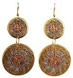 Touchstone Deseo finamente artesanal alambre concéntrico bonito aspecto diseñador joyas pendientes plata antigua cobre...