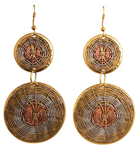 Touchstone Deseo finamente artesanal alambre concéntrico bonito aspecto diseñador joyas pendientes plata antigua cobre s para mujer Latón