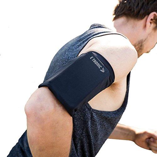 E Tronic Edge Handytasche - Laufen, Joggen, Running - Elastisches Laufarmband für Handy-Modelle jeder Größe - Hoher Schwarz - Large