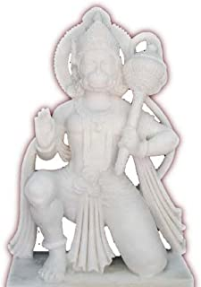 12 Inch Reglious Sculpture White Marble Hanuman Hindus Religious Good Luck Art Gifts
